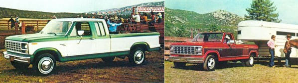 A la izquierda Ford Ranger F-250 con cabina extendida (SuperCab) y pintada en la opción Combination Tu-Tone. A la derecha Ford Ranger F-350 con ruedas duales en el eje trasero y pintada como Combination Tu-Tone. Ambos modelos de camionetas son modelo 1980. Fotografías de un folleto de la empresa Ford Motor Company de agosto de 1979.