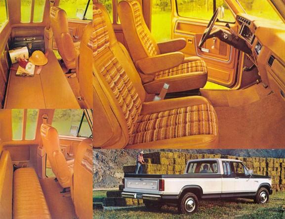 El interior de una cabina extendida o SuperCab en una camioneta Ford Ranger F-250. Se aprecian los asientos Captain's Chairs (asientos del capitán) con el pequeño asiento trasero rebatible y asiento del conductor con apoya brazos. Fotografías de un folleto de la empresa Ford Motor Company de agosto de 1979.