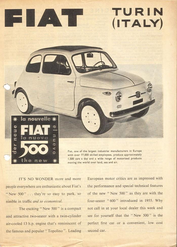 Publicidad Fiat 500 Time 16 sep 1957