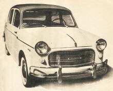 Fiat 1100 103 D del año 1960 fabricado en Argentina por Fiat Concórd. La fotografía es de la revista Parabrisas número 5 de marzo de 1961.