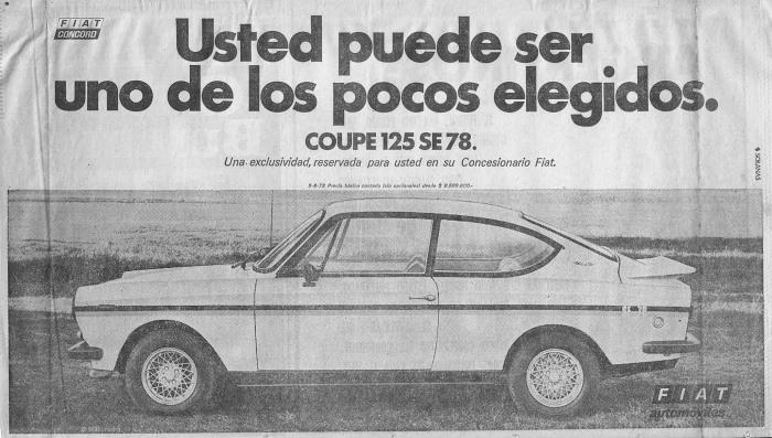 Publicidad Fiat 125 Coupe SE 78 La Nación 26 jun 1978