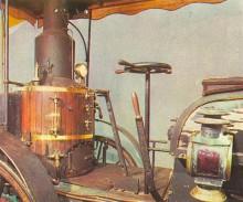Vemos el volante del primer automóvil de vapor de De Dion-Bouton del año 1883. La fotografía es de la Enciclopedia Autorama del año 1968.