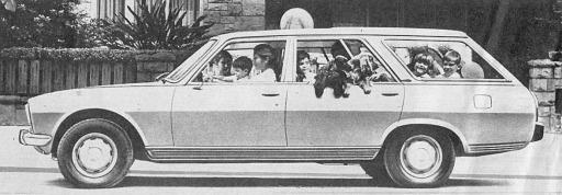 Peugeot 504 Break Familiar importada desde Francia a partir del año 1979 por SAFRAR. La fotografía está tomada de una publicidad aparecida en la revista Gente del 8 de mayo de 1980.