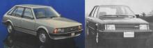 A la derecha el Ford Laser del año 1981 comercializado por Ford Motor Argentina. A la izquierda el Mazda 323 de 1980 importado por Cirlafin a Argentina. La fotografía del Ford Laser está tomada de un folleto de la empresa Ford Motor Argentina de septiembre de 1981 y la del Mazda 323 de la revista Su Auto número 13 de diciembre de 1980.
