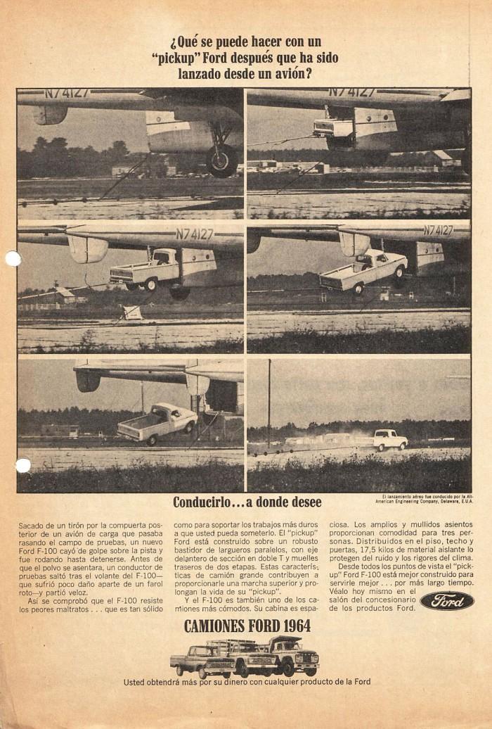 Publicidad Ford F-100 1964 avión