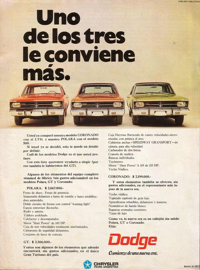 Publicidad Dodge Polara Coronado GT Panorama mayo 1969