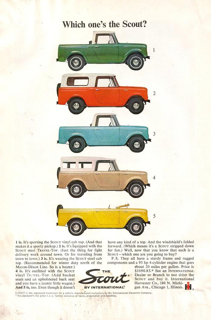 Publicidad International Scout 1964