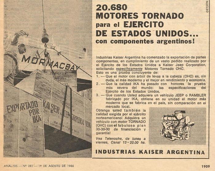 Publicidad motores Tornado exportados 1966