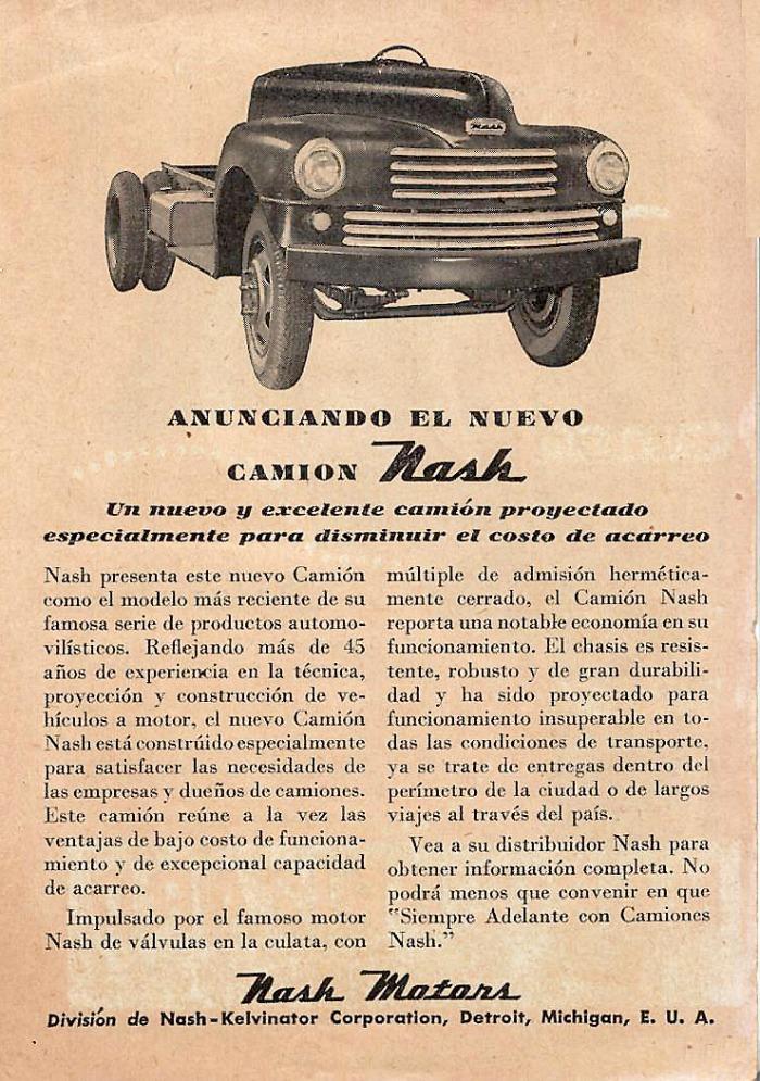 Publicidad Nash camión 1948