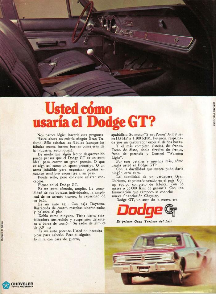 Publicidad Dodge GT Panorama 12-18 ago 1969