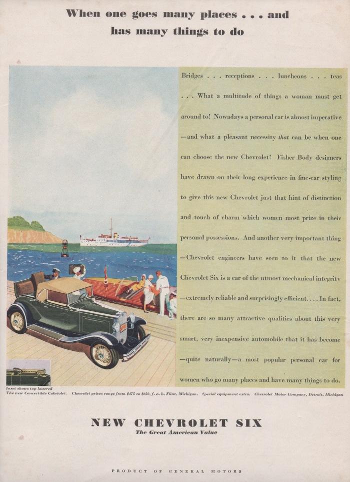 Publicidad Chevrolet Six 1931