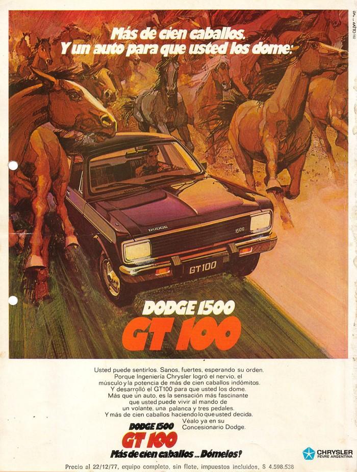 Publicidad Dodge GT 100 Bazar 1977