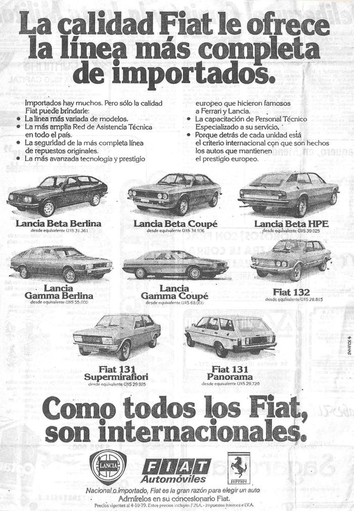 Publicidad importados Fiat y Lancia 1979