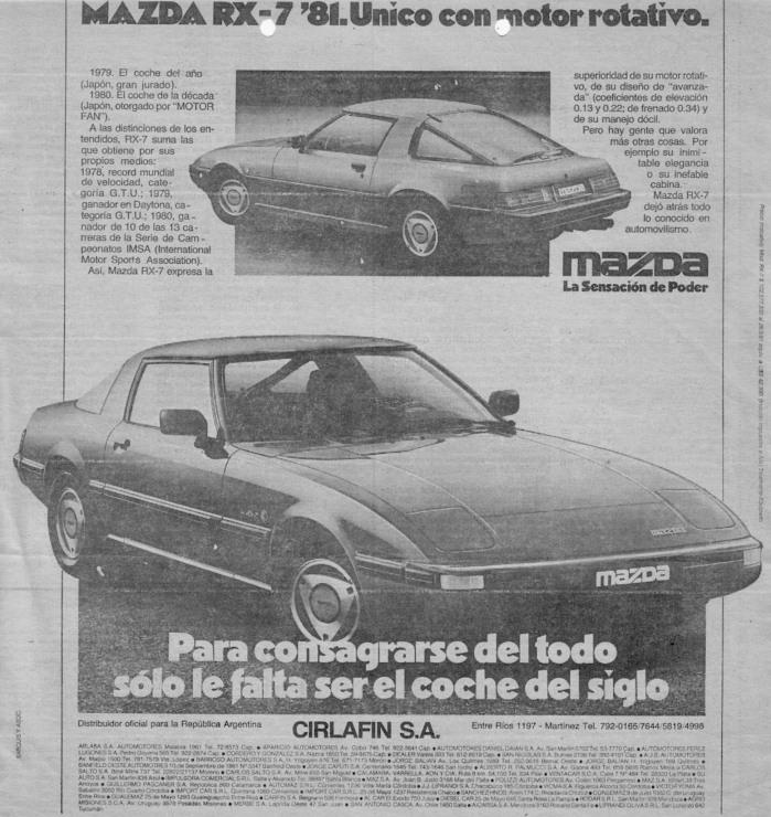 Publicidad Mazda RX-7 1981