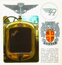 Los emblemas que ostentó la empresa Austin hasta los años sesenta.