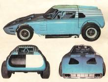 Tres vistas del Martín Fierro Mark II del año 1968 diseñado por Vicente Formisano.