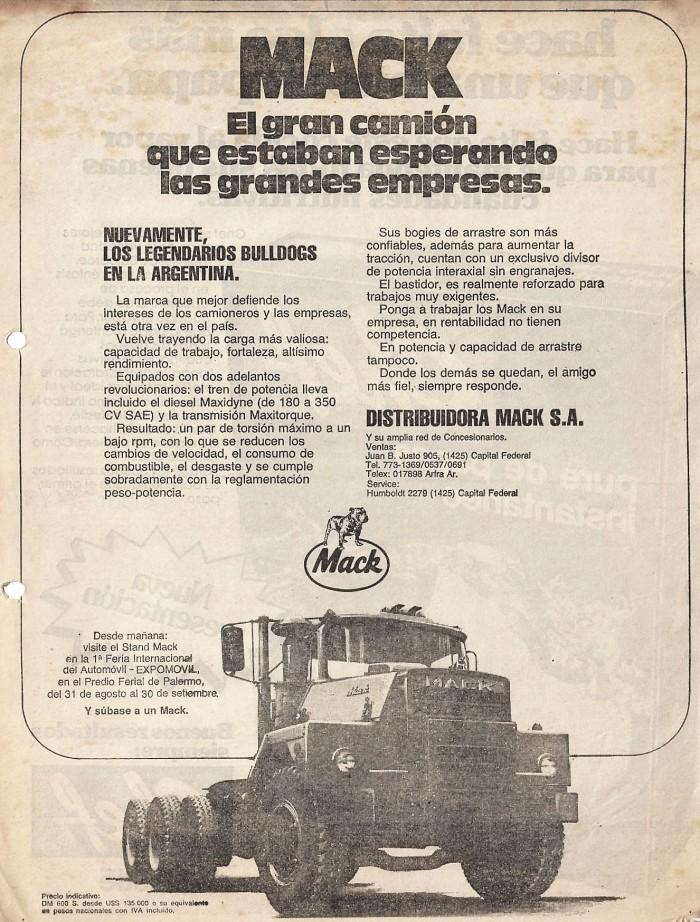 Publicidad Mack DM 600 S 1980